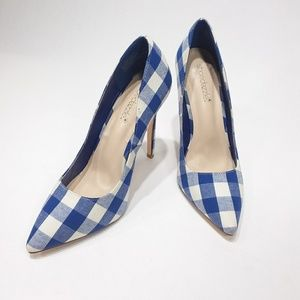 Shoedazzle classic pumps with blue checked fabric
